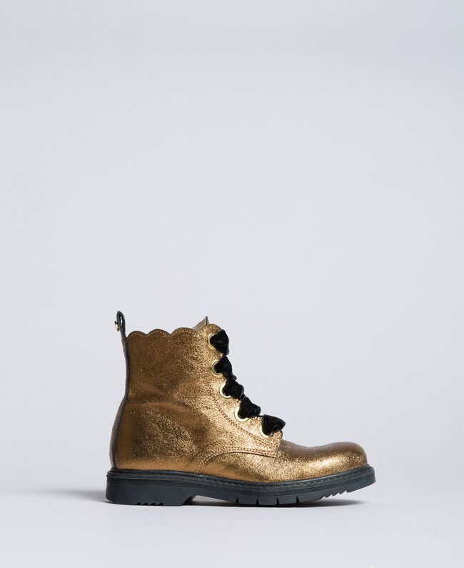 """Leather scalloped boots """"Caramel"""" Brown Child HA88CE-03"""