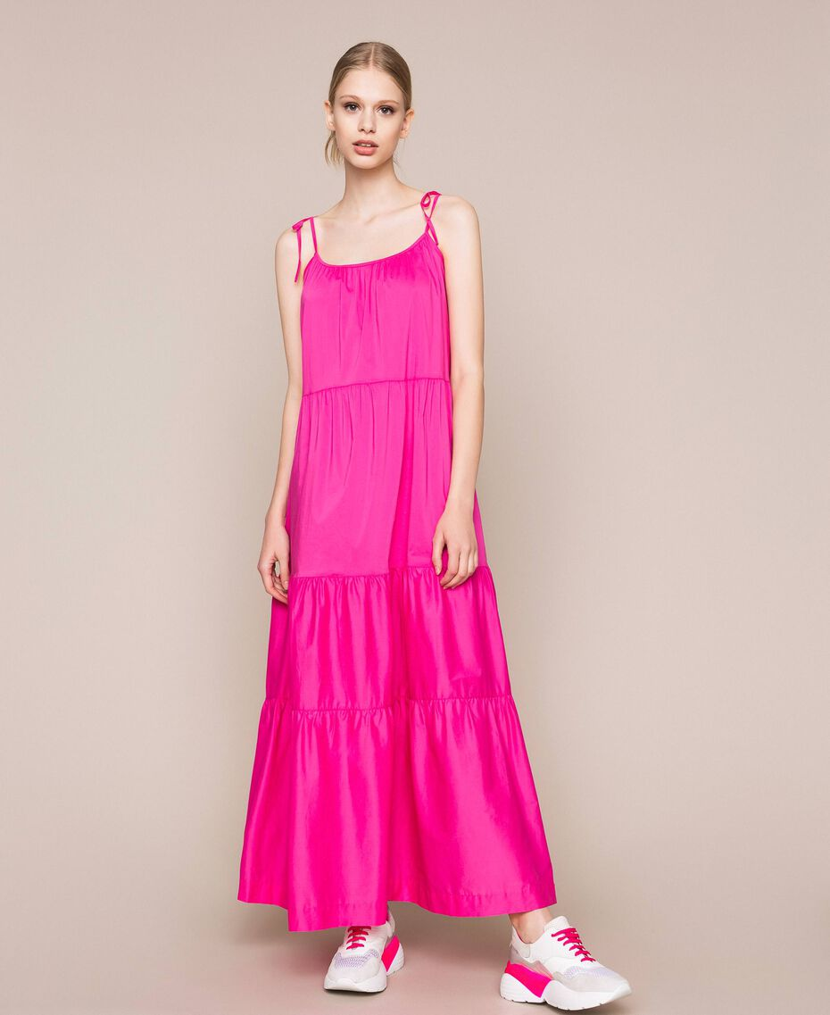 Long dress with flounces Shocking Pink Woman 201LM2AUU-01