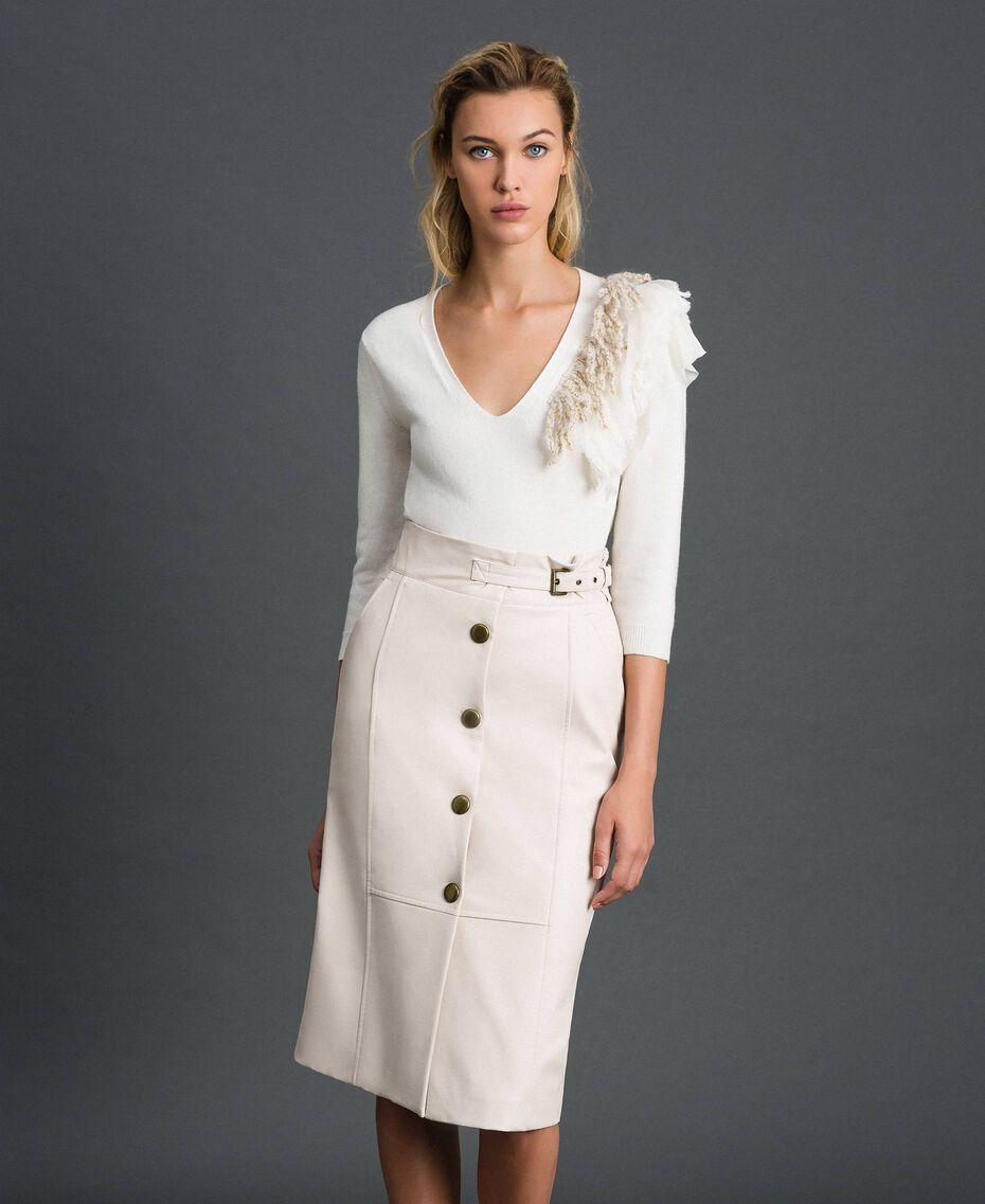 Faux leather midi skirt White Snow Woman 192TT203B-02