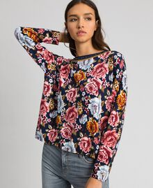 Dual use boxy jumper with rhinestones Black / Lily Animal Print Woman 192MP3230-01