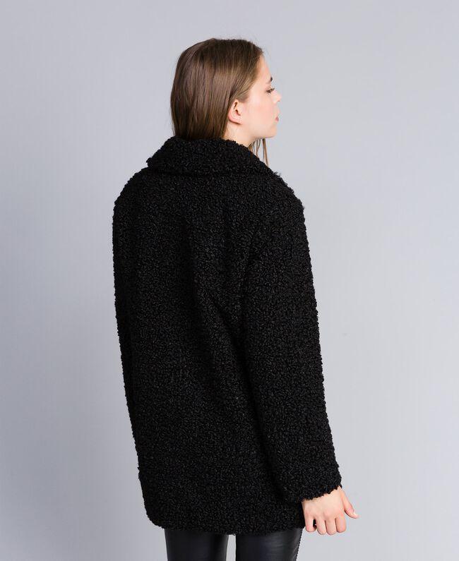 Manteau en faux agneau Noir Femme JA82KN-03