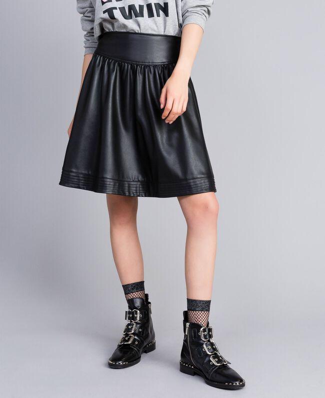 Faux leather full skirt Black Woman JA82DC-01