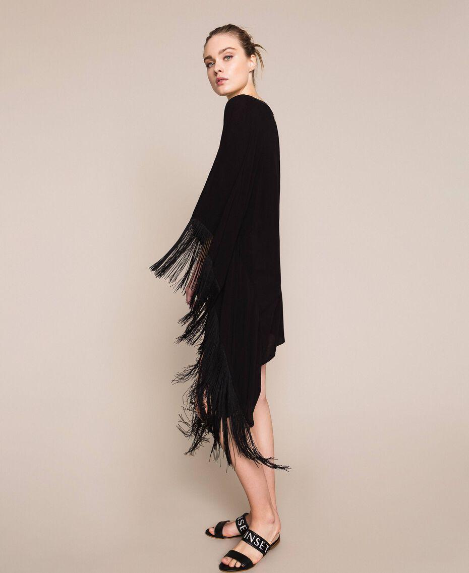 Kimono-style kaftan with fringes Black Woman 201LB2CLL-02