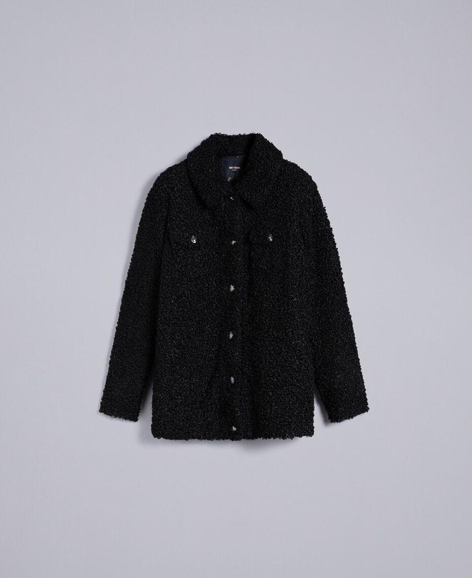Куртка-кабан из искусственной кожи ягненка Черный женщина JA82KG-0S