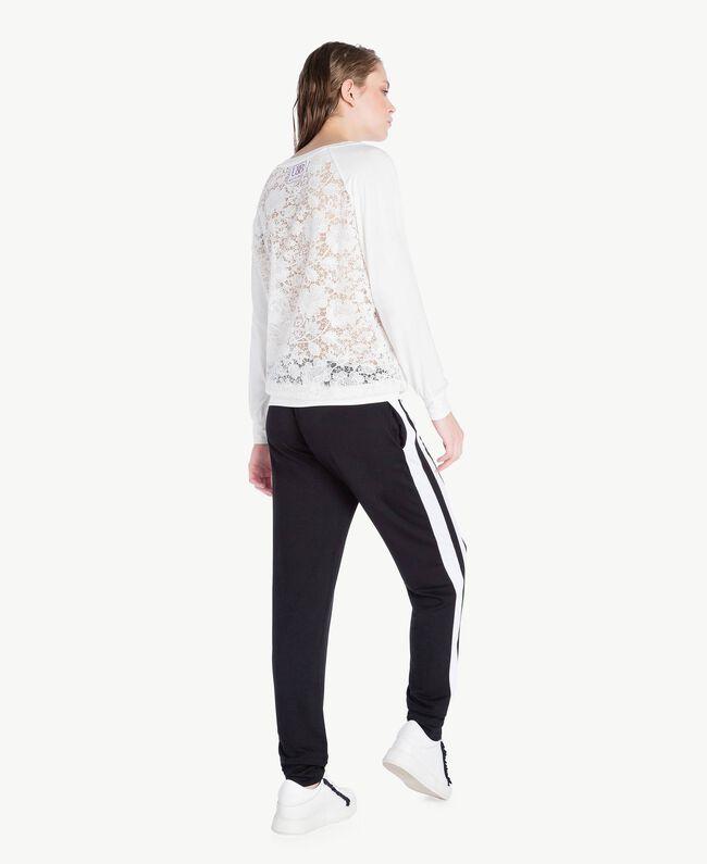 Lace sweatshirt White Woman LS89DD-04