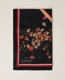 Kefiah con stampa floreale e logo Stampa Wild Flowers Nero Donna 212AA406A-01