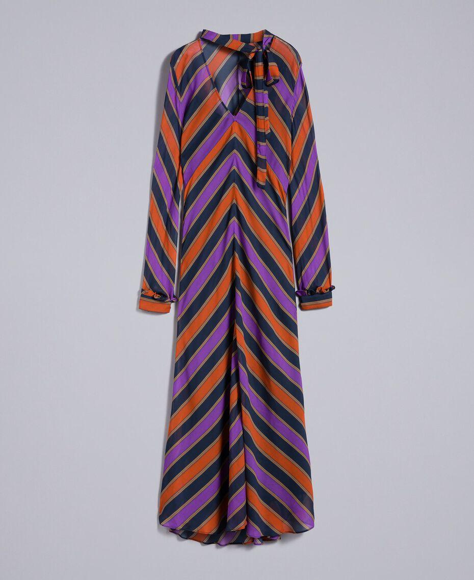 Long striped georgette dress Multicolour Stripe Print Woman TA8294-0S