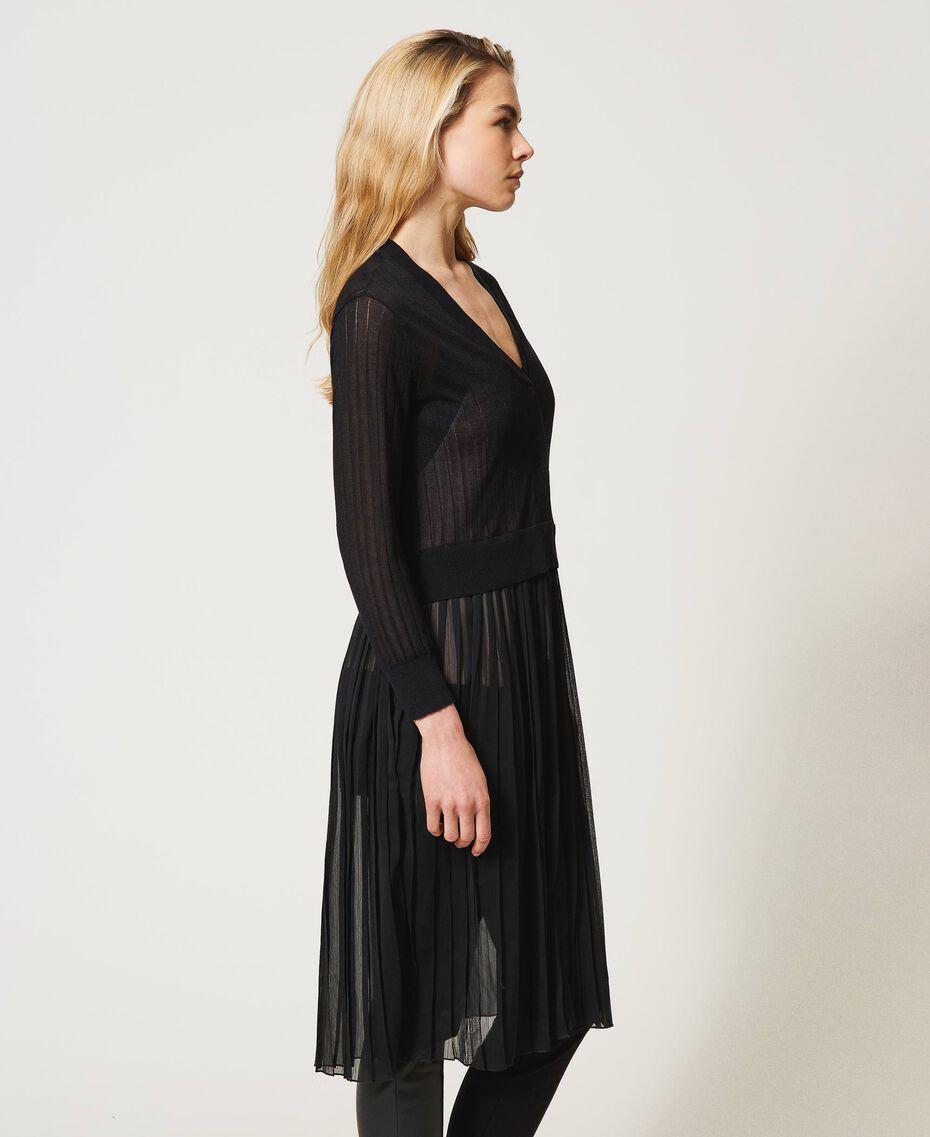 Cardigan long avec insertion plissée Noir Femme 211LL3NGG-04