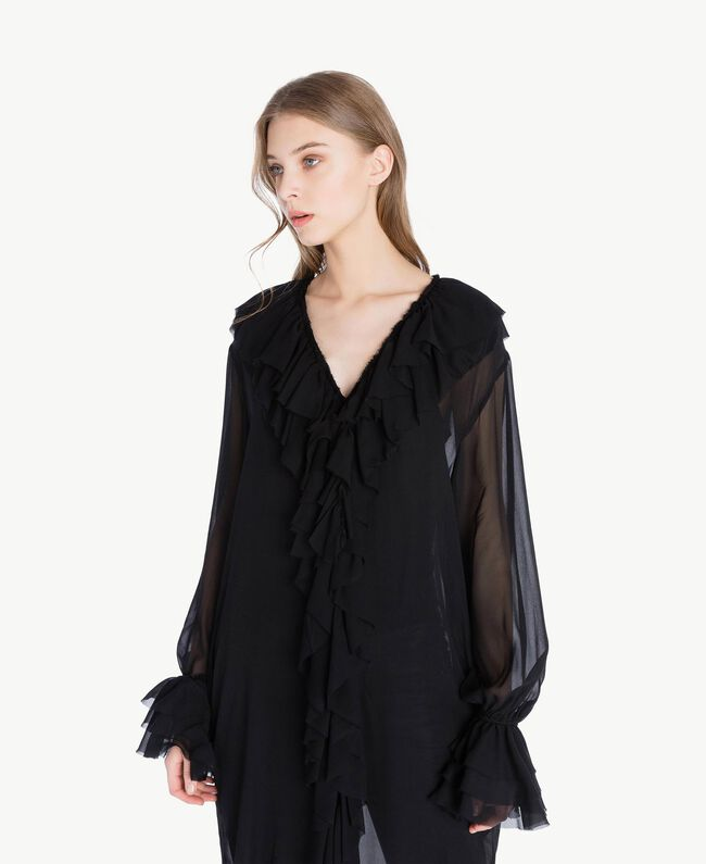 Ruffled tunic Black Woman PS823B-04