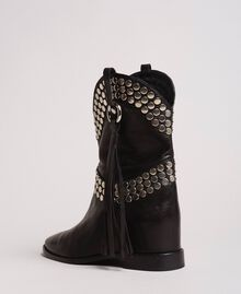 Leather ankle boots with studs Nougat Beige Woman 191TCP044-04