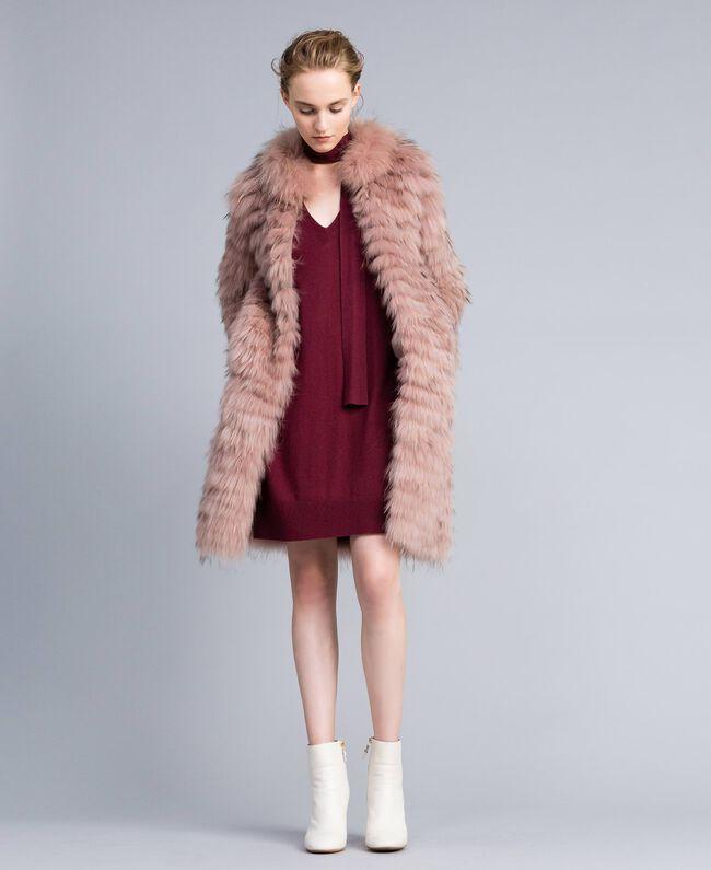 Long fur coat Light Pink Woman PA82LE-01