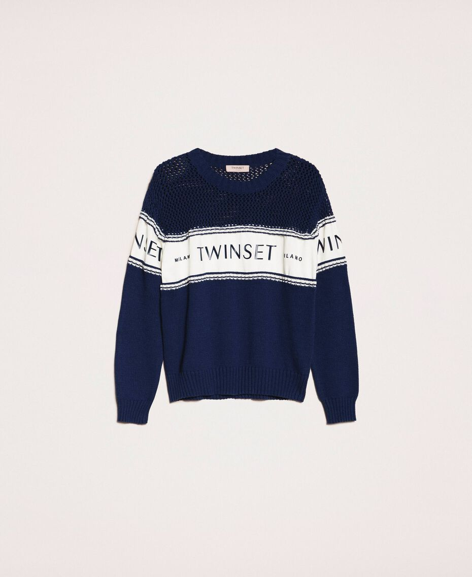 """Jumper with plush and logo inlay Two-tone Night Blue / """"Snow"""" White Woman 201TP3201-0S"""