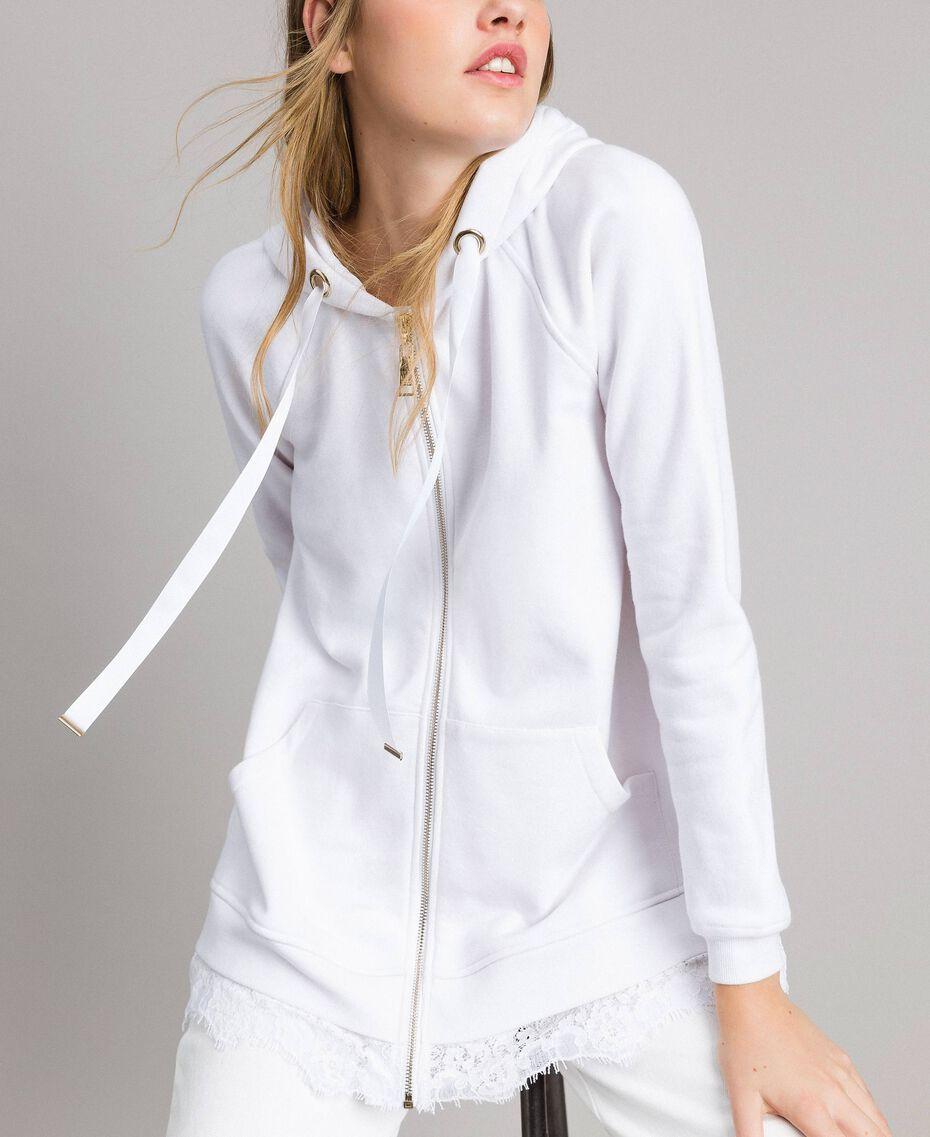 Sweat-shirt avec capuche et dentelle Crème White Femme 191MP2323-05