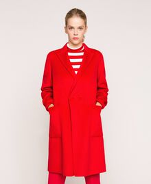 "Mantel aus doppellagigem Tuch ""Lava""-Rot Frau 201TP242A-02"
