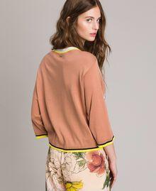 "Sequin jumper with contrasting trims Multicolour ""Desert Rose"" Beige / ""Shell"" Beige Flowers Print Woman 191MT3110-03"