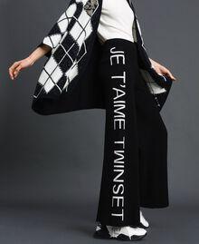 Pantalon palazzo en maille avec logo Jacquard Noir / Blanc Neige Femme 192TP3329-01