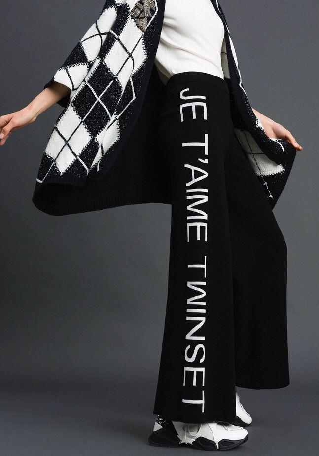Pantalon palazzo en maille avec logo