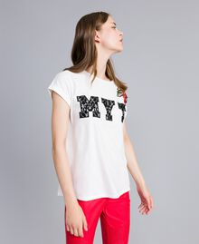 T-shirt avec broderies et applications Nacre Femme JA82M2-02