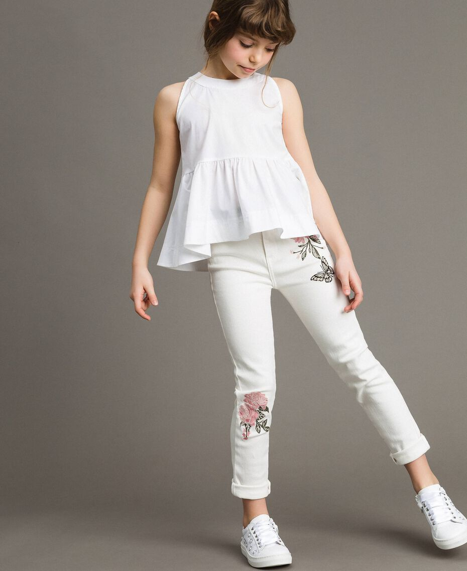 Top en popeline stretch Blanc Enfant 191GJ2412-0S