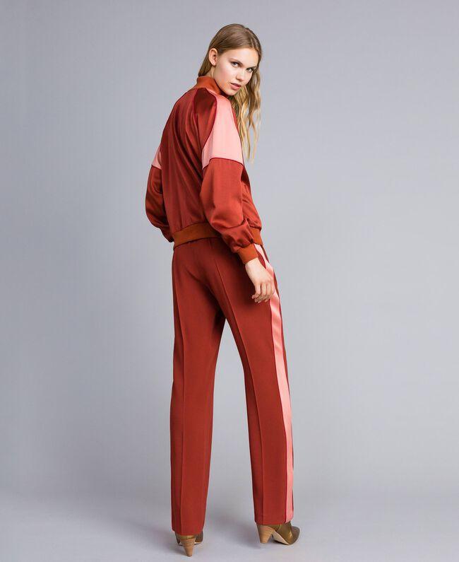 "Envers satin trousers Bicolour ""Burnt"" Orange / Sand Pink Woman TA824W-03"