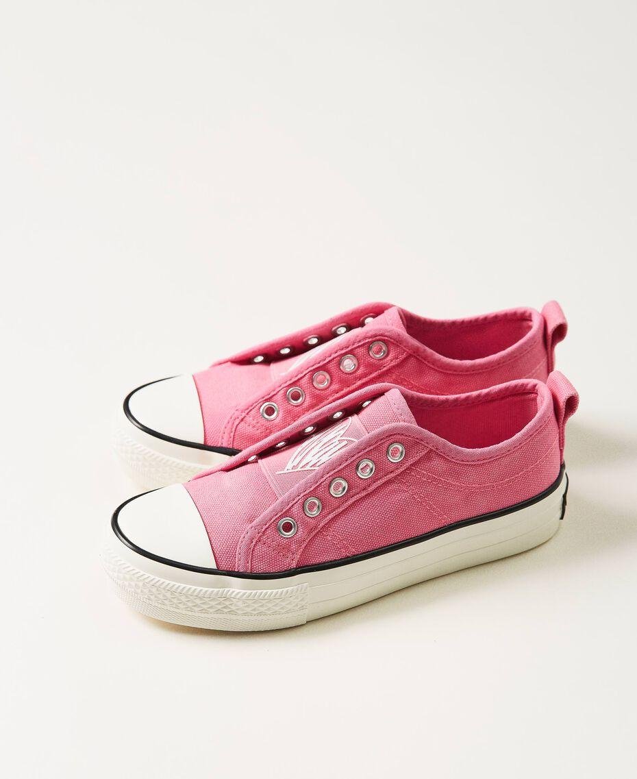 "Sneakers aus Canvas mit Logo ""Rose Bloom""-Rosa Kind 211GCJ070-01"
