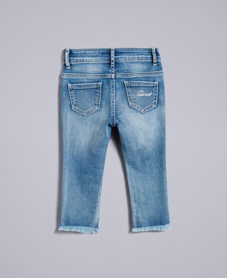 """Jean skinny avec perles et strass Bleu """"Denim Moyen"""" Enfant FA82V1-0S"""