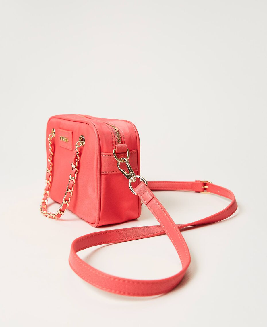 Technical satin shoulder bag Neon Pink Woman 211TD8100-01