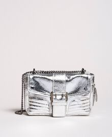 Laminated leather Rebel shoulder bag Silver Woman 191TO8640-02