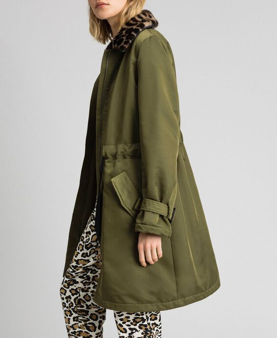 Technical satin coat with animal print collar