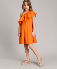 "Robe épaule dénudée en popeline stretch ""Orange Estivale"" Enfant 191GJ2290-0S"