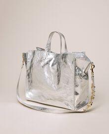 Sac cabas en cuir avec logo Blanc Neige Femme 201TA7090-03