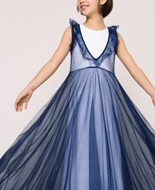 """Full-length tulle gown with ruffle Two-tone Night Blue / """"Papers"""" White Child 201GJ2Q50-04"""
