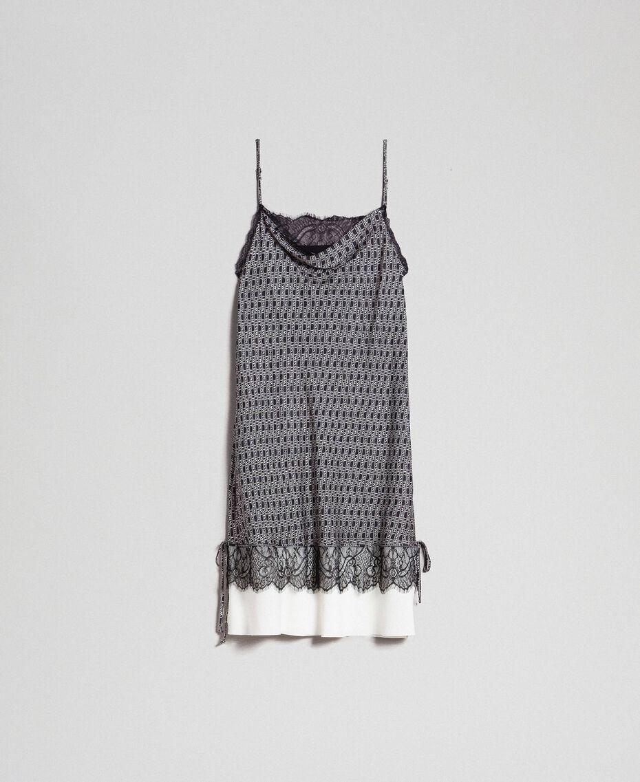"""Slip dress with logo print Black / """"Snow"""" White Logo Print Woman 192TP258B-0S"""