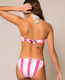 Soutien-gorge de bain push-up avec rayures et strass Multicolore Rose Bonbon / Rose Shocking Pink / Blanc Optique Femme 201LMMF44-03