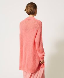 """Oversized mohair blend cardigan """"Peach Blossom"""" Pink Woman 202TP3271-05"""