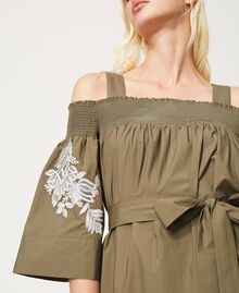 Off-shoulder poplin dress with embroidery Black Woman 211TT2475-07