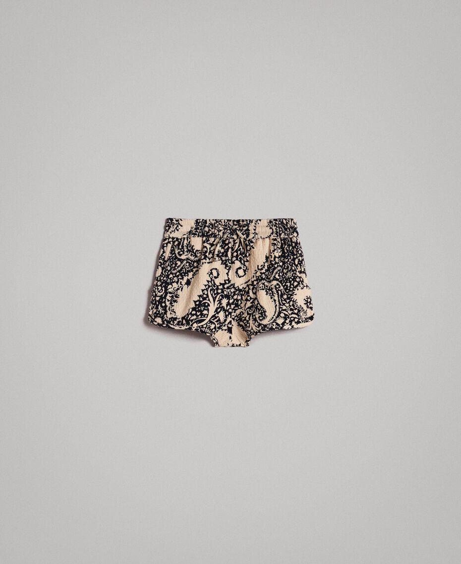 Matelassé-Shorts aus Baumwolle Gestempeltes Motiv Frau 191TT2192-0S