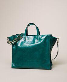 Leather shopper with logo Python Woman 201TA7090-04