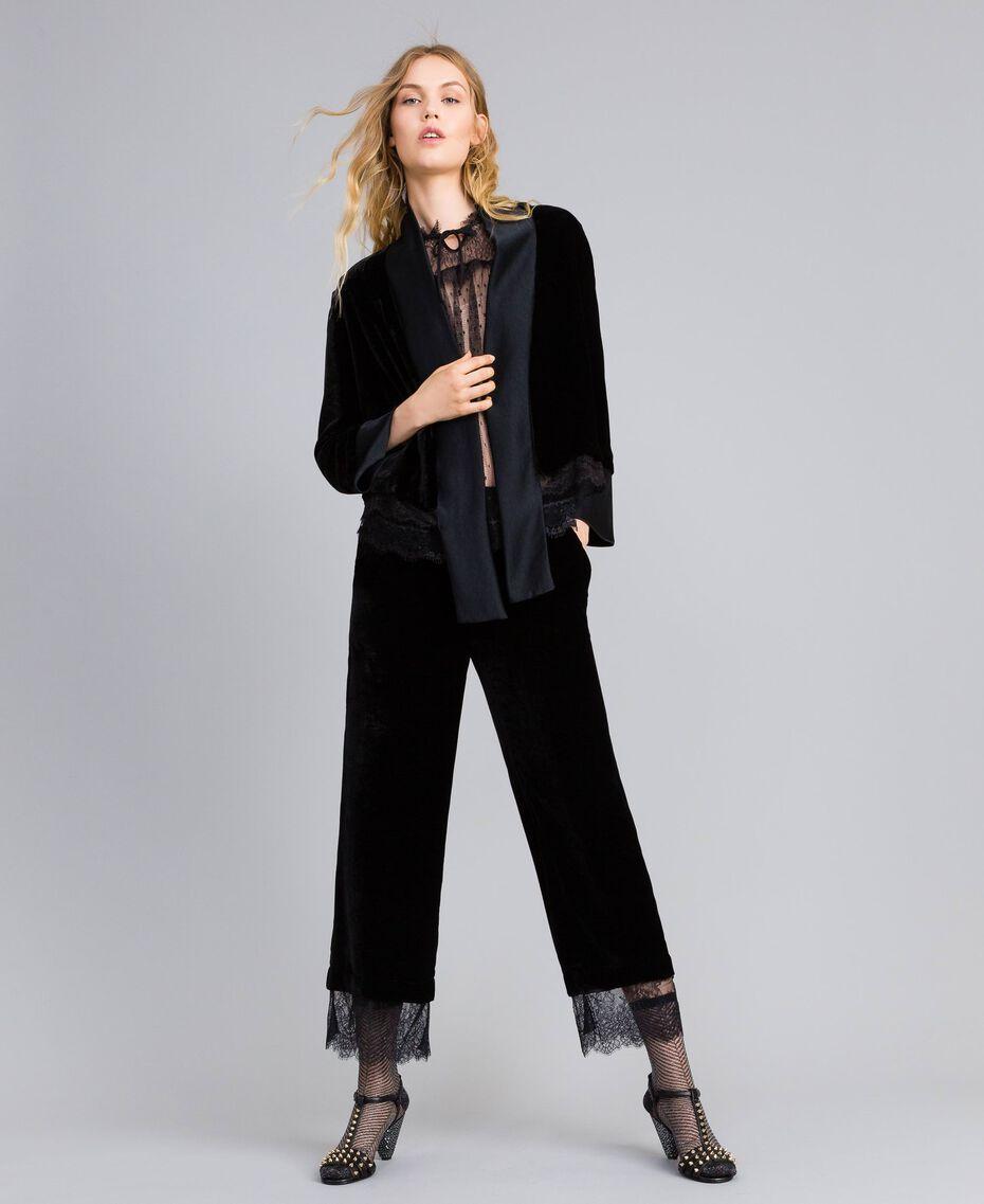 Generous-fit velvet jacket Black Woman TA826R-0T