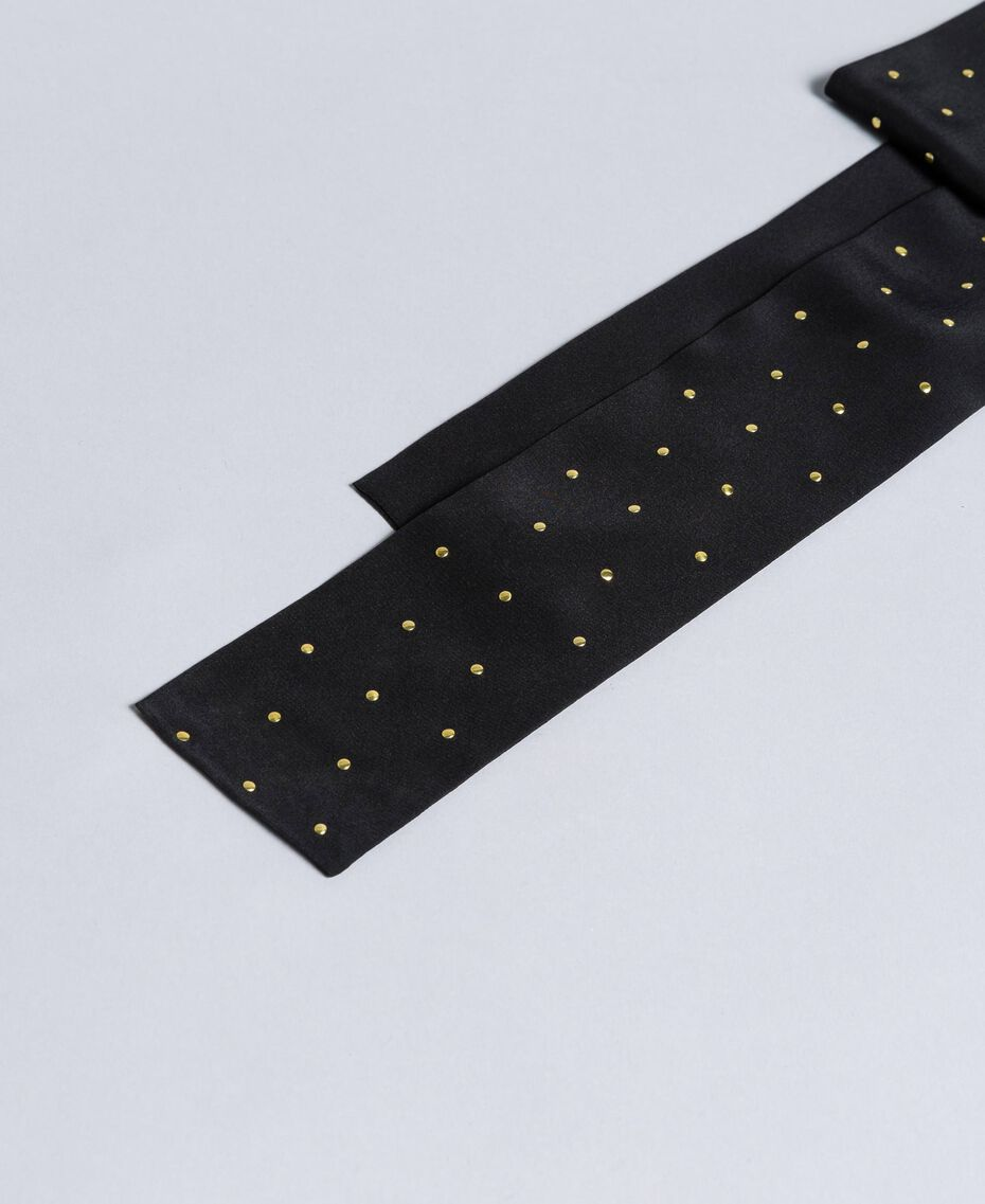 Silk studded scarf Two-tone Black / Gold Woman AA8P17-01