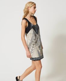 "Linen blend dress with embroideries Two-tone ""Dune"" Beige / Embroidered Black Woman 211TT2611-04"