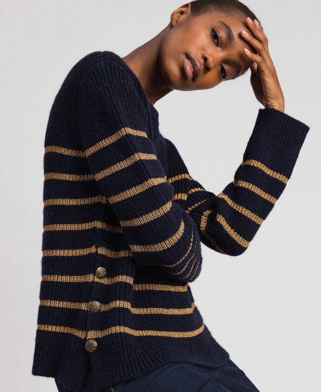 Pullover aus Wollmischung mit Lurexstreifen Streifen Mitternachtblau / Dunkelgold Frau 192TT3360-04