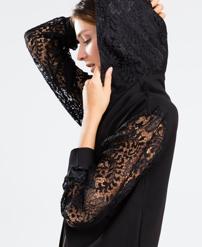 Sweatshirt aus Viskose mit Spitze und Reißverschluss Schwarz Frau IA8CEE-04