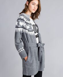 Maxi jacquard cardigan with studs Bicolour Grey Melange / Mother-of-pearl White Woman JA83ED-02