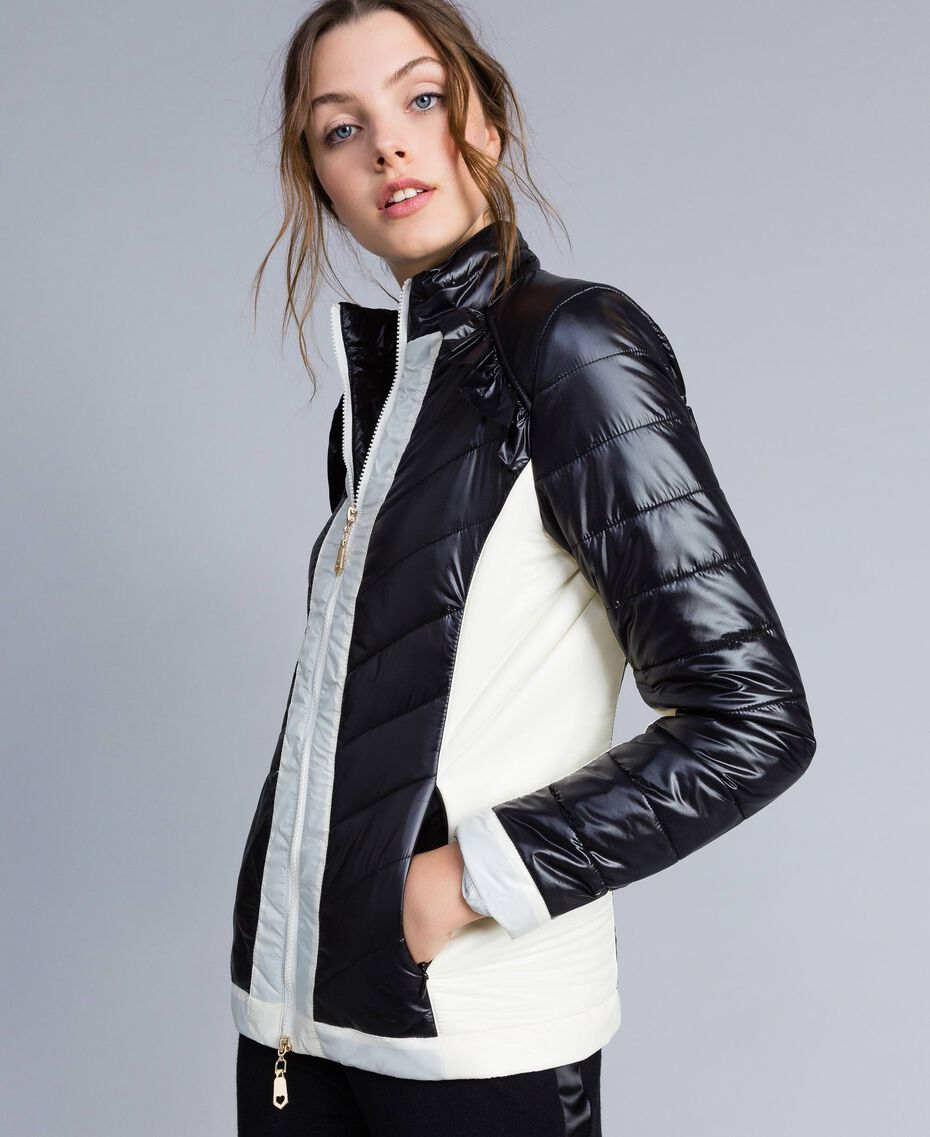 Two-tone quilted nylon padded jacket Bicolour Black / Blanc Woman IA85JJ-02
