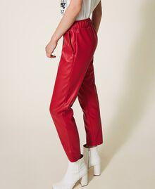 Pantalon cigarette en similicuir Rouge Terre cuite Femme 202LI2GDD-01