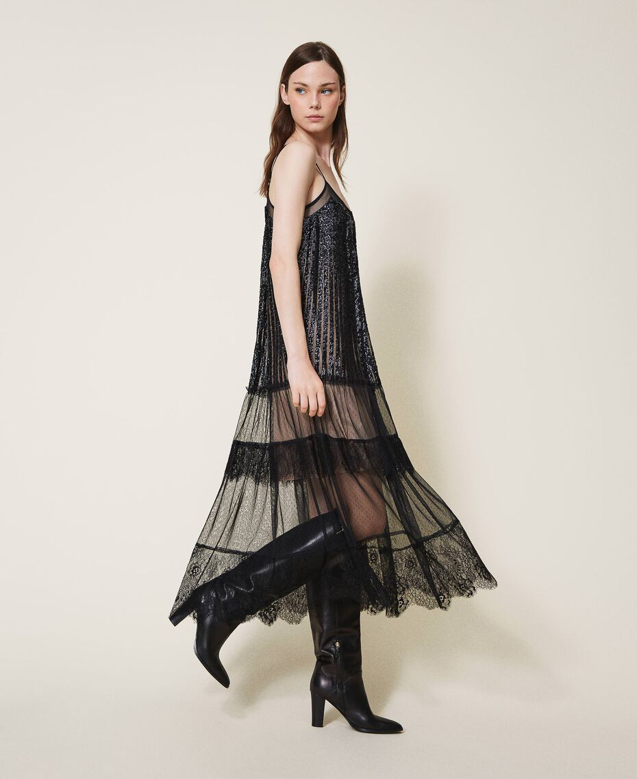 Full-length tulle and lace dress with sequins Black Woman 202TT2250-02
