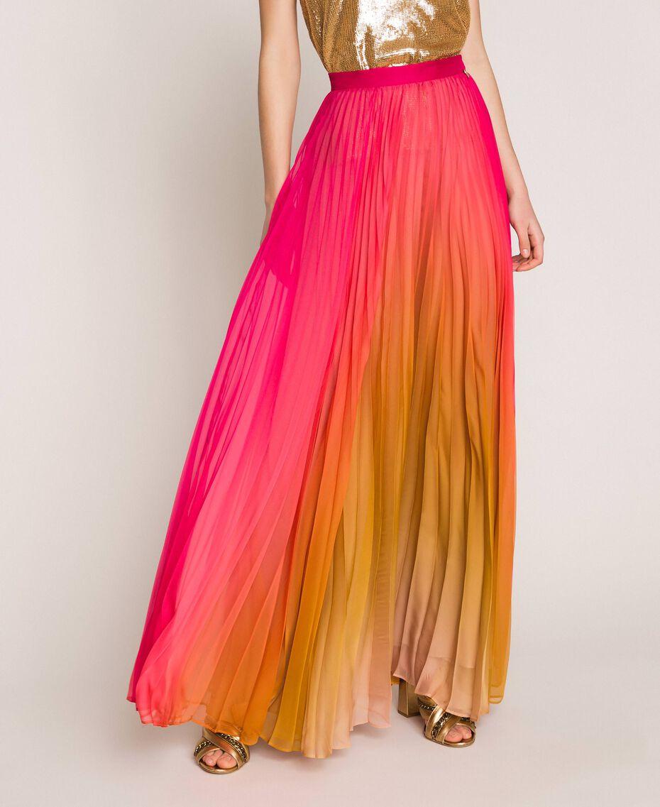 "Pleated chiffon long skirt ""Sugar Coral"" Red / Golden Yellow Fadeout Print Woman 201TT2520-01"