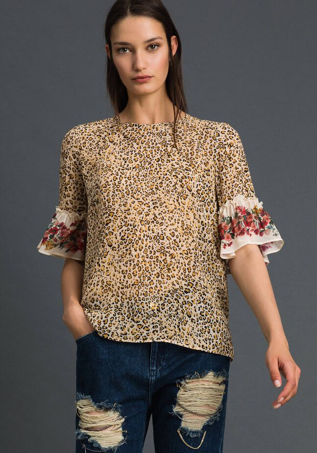 Bluse mit Blumen-Animal-Print
