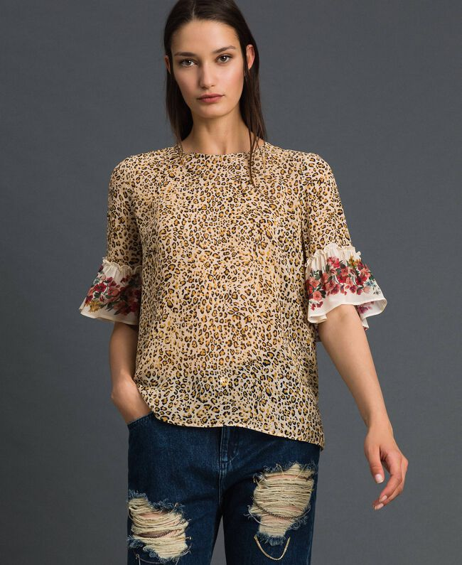 Floral and animal print blouse Leopard Print Woman 192TP2742-01